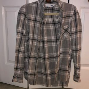 White and grey flannel